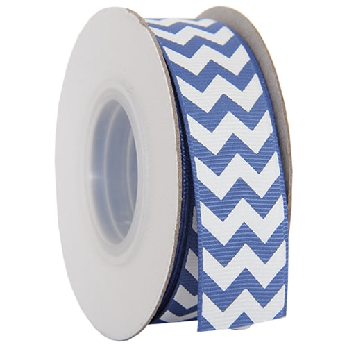 "Grosgrain Chevron Ribbon 7/8"" - 10 Yards - Country Blue - Threadart.com"