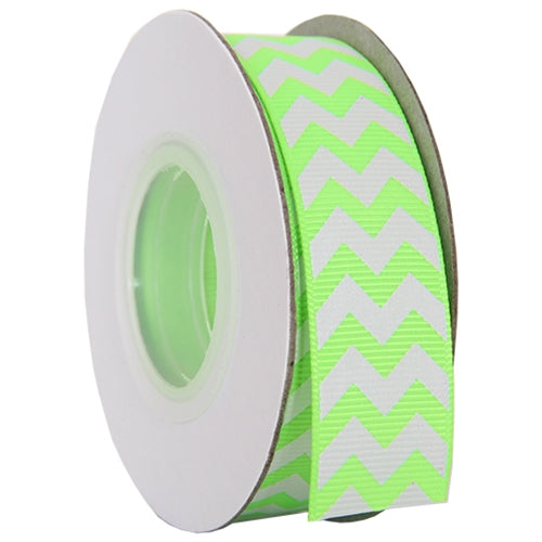 "Grosgrain Chevron Ribbon 7/8"" - 10 Yards - Neon Green - Threadart.com"