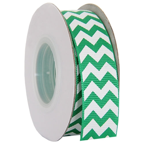 "Grosgrain Chevron Ribbon 7/8"" - 10 Yards - Green - Threadart.com"