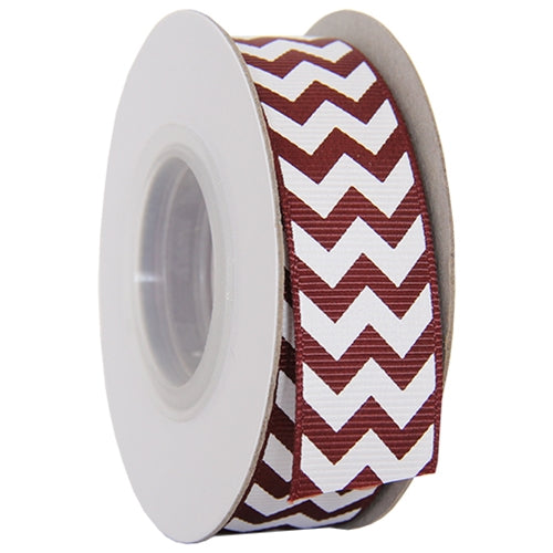 "Grosgrain Chevron Ribbon 7/8"" - 10 Yards - Chocolate - Threadart.com"