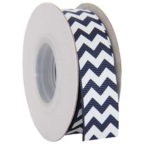 "Grosgrain Chevron Ribbon 7/8"" - 10 Yards - Navy - Threadart.com"