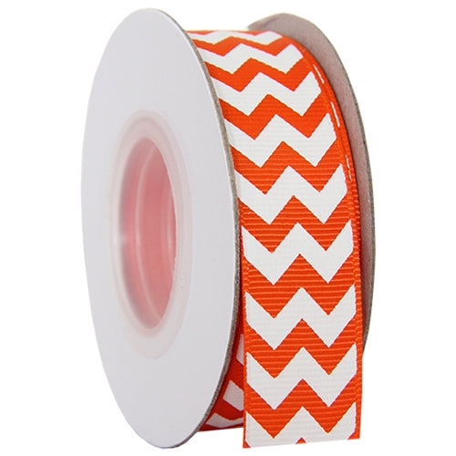 "Grosgrain Chevron Ribbon 7/8"" - 10 Yards - Orange - Threadart.com"