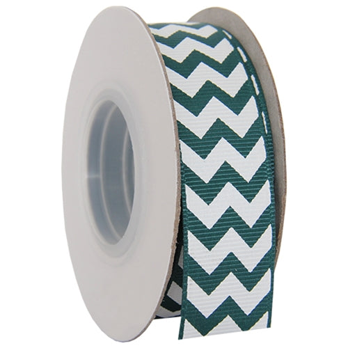 "Grosgrain Chevron Ribbon 7/8"" - 10 Yards - Forest Green - Threadart.com"