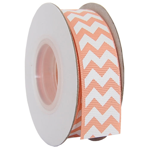 "Grosgrain Chevron Ribbon 7/8"" - 10 Yards - Peach - Threadart.com"
