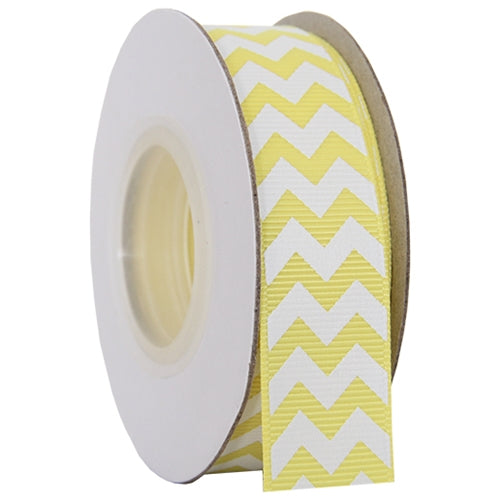"Grosgrain Chevron Ribbon 7/8"" - 10 Yards - Yellow - Threadart.com"