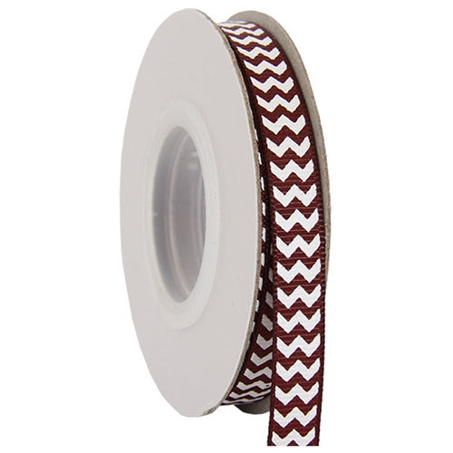 "Grosgrain Chevron Ribbon 3/8"" - 10 Yards - Chocolate - Threadart.com"