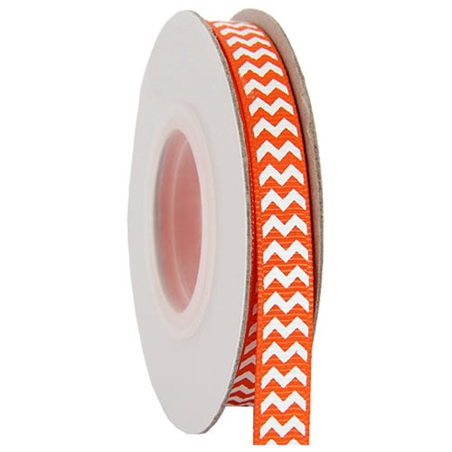 "Grosgrain Chevron Ribbon 3/8"" - 10 Yards - Orange - Threadart.com"