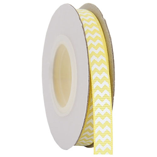 "Grosgrain Chevron Ribbon 3/8"" - 10 Yards - Yellow - Threadart.com"