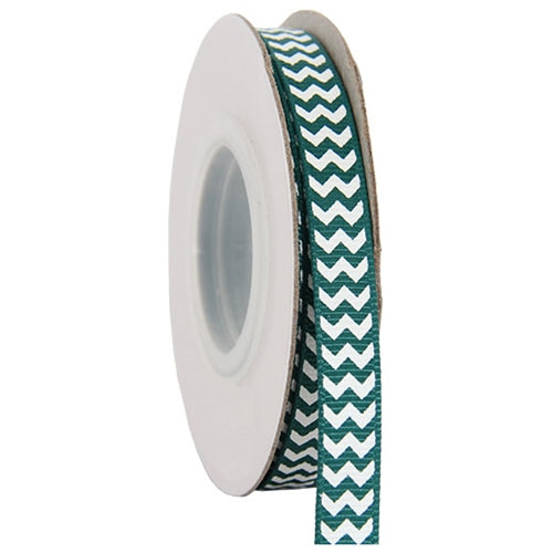 "Grosgrain Chevron Ribbon 3/8"" - 10 Yards - Forest Green - Threadart.com"