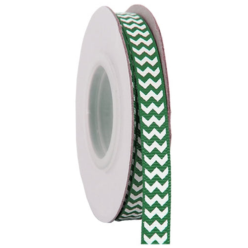 "Grosgrain Chevron Ribbon 3/8"" - 10 Yards - Green - Threadart.com"