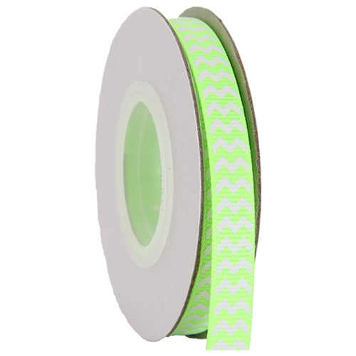 "Grosgrain Chevron Ribbon 3/8"" - 10 Yards - Neon Green - Threadart.com"