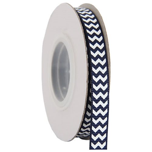 "Grosgrain Chevron Ribbon 3/8"" - 10 Yards - Navy - Threadart.com"