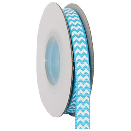 "Grosgrain Chevron Ribbon 3/8"" - 10 Yards - Aqua - Threadart.com"