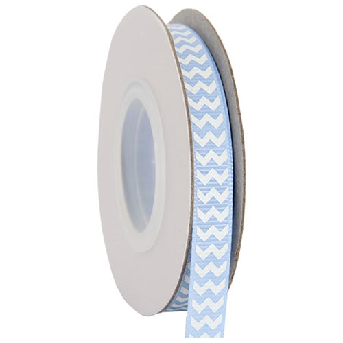 "Grosgrain Chevron Ribbon 3/8"" - 10 Yards - Baby Blue - Threadart.com"