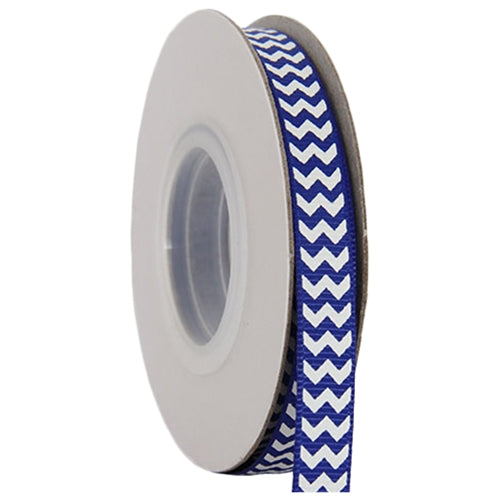 "Grosgrain Chevron Ribbon 3/8"" - 10 Yards - Blue - Threadart.com"