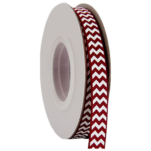 "Grosgrain Chevron Ribbon 3/8"" - 10 Yards - Burgundy - Threadart.com"