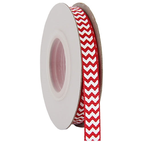 "Grosgrain Chevron Ribbon 3/8"" - 10 Yards - Red - Threadart.com"