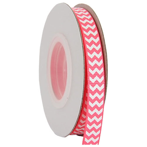 "Grosgrain Chevron Ribbon 3/8"" - 10 Yards - Hot Pink - Threadart.com"