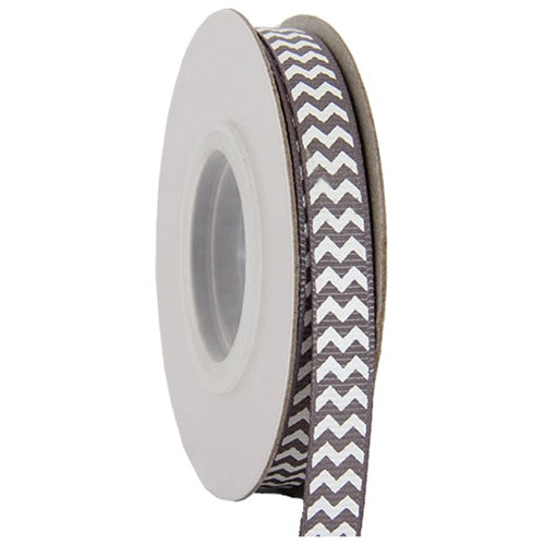 "Grosgrain Chevron Ribbon 3/8"" - 10 Yards - Grey - Threadart.com"