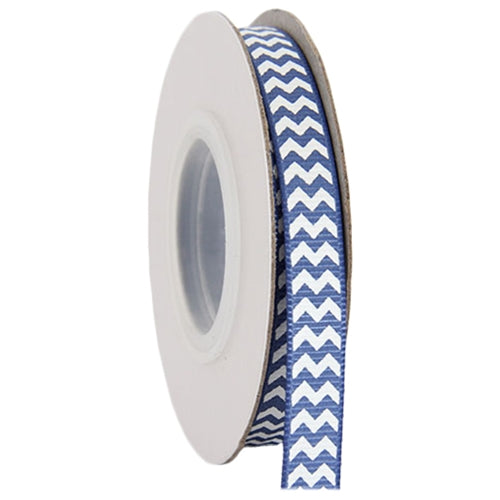 "Grosgrain Chevron Ribbon 3/8"" - 10 Yards - Country Blue - Threadart.com"