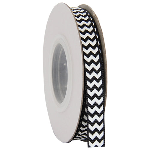 "Grosgrain Chevron Ribbon 3/8"" - 10 Yards - Black - Threadart.com"