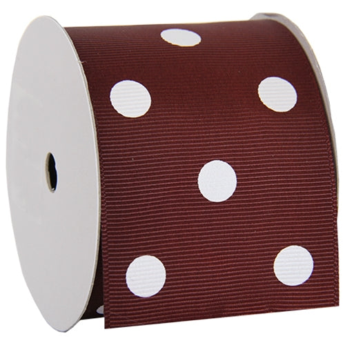"Grosgrain Dots Ribbon 2 1/4"" - 5 Yards - Chocolate - Threadart.com"