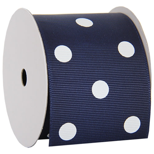 "Grosgrain Dots Ribbon 2 1/4"" - 5 Yards - Navy - Threadart.com"