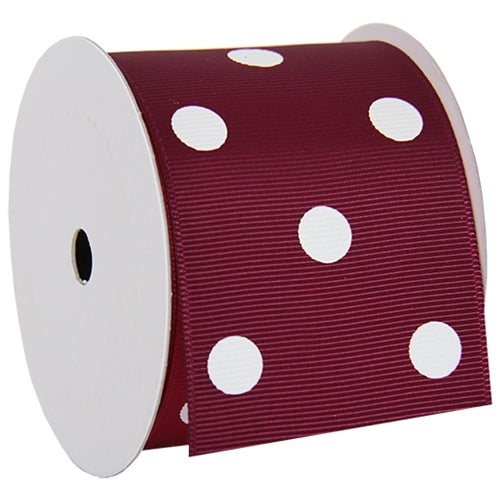 "Grosgrain Dots Ribbon 2 1/4"" - 5 Yards - Burgundy - Threadart.com"