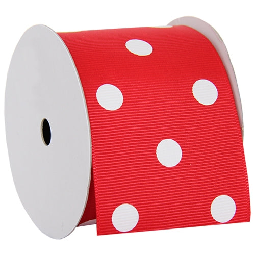 "Grosgrain Dots Ribbon 2 1/4"" - 5 Yards - Red - Threadart.com"
