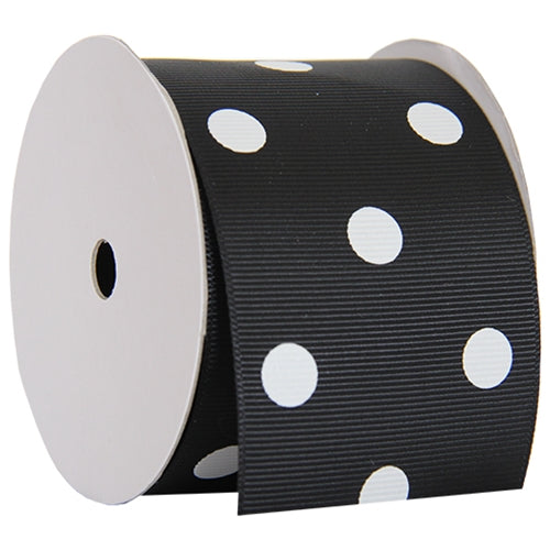 "Grosgrain Dots Ribbon 2 1/4"" - 5 Yards - Black - Threadart.com"