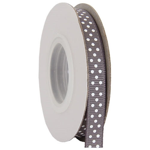 "Grosgrain Dots Ribbon 3/8"" - 10 Yards - Grey - Threadart.com"