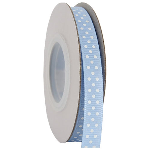 "Grosgrain Dots Ribbon 3/8"" - 10 Yards - Baby Blue - Threadart.com"