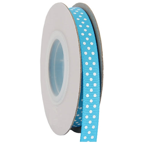 "Grosgrain Dots Ribbon 3/8"" - 10 Yards - Aqua - Threadart.com"