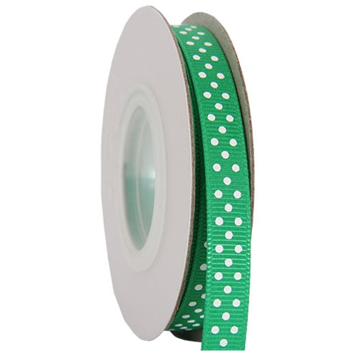 "Grosgrain Dots Ribbon 3/8"" - 10 Yards - Green - Threadart.com"