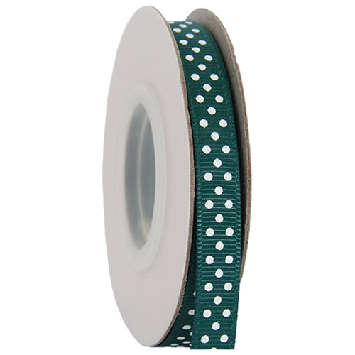 "Grosgrain Dots Ribbon 3/8"" - 10 Yards - Forest Green - Threadart.com"
