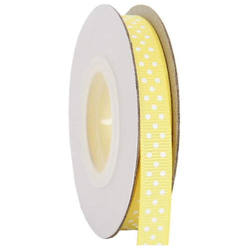 "Grosgrain Dots Ribbon 3/8"" - 10 Yards - Yellow - Threadart.com"