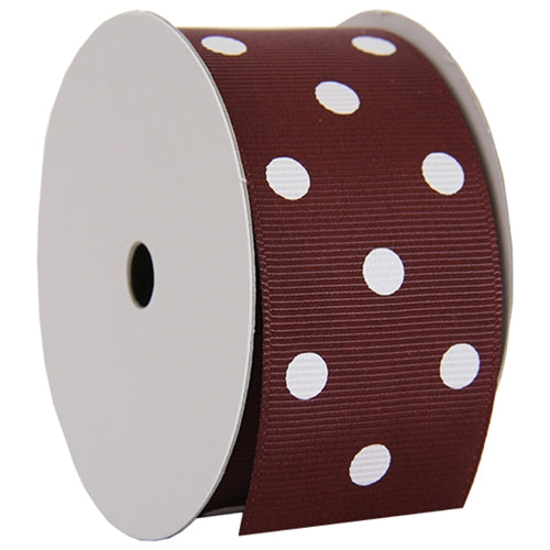 "Grosgrain Dots Ribbon 1 1/2"" - 5 Yards - Chocolate - Threadart.com"
