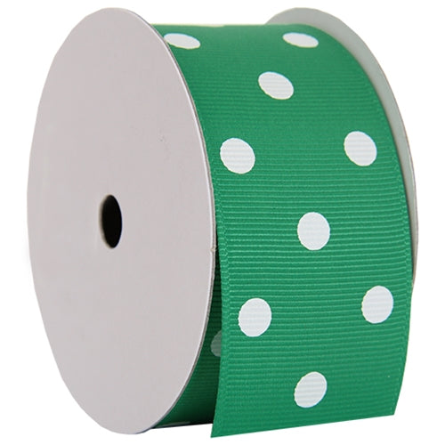 "Grosgrain Dots Ribbon 1 1/2"" - 5 Yards - Green - Threadart.com"