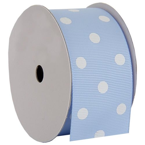 "Grosgrain Dots Ribbon 1 1/2"" - 5 Yards - Baby Blue - Threadart.com"
