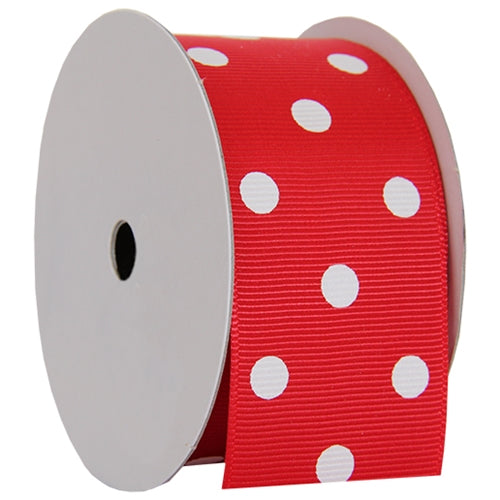 "Grosgrain Dots Ribbon 1 1/2"" - 5 Yards - Red - Threadart.com"