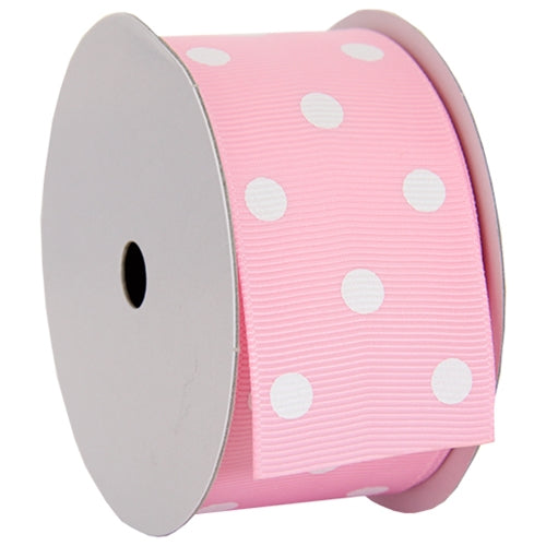 "Grosgrain Dots Ribbon 1 1/2"" - 5 Yards - Pink - Threadart.com"