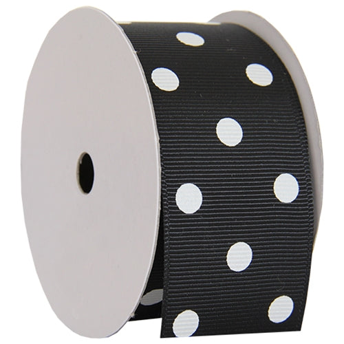 "Grosgrain Dots Ribbon 1 1/2"" - 5 Yards - Black - Threadart.com"