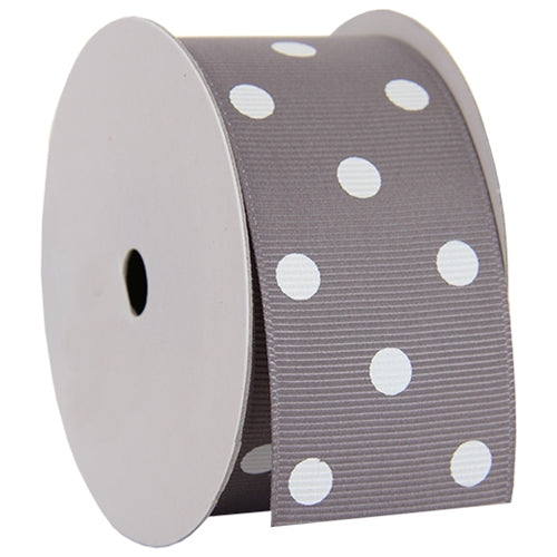 "Grosgrain Dots Ribbon 1 1/2"" - 5 Yards - Grey - Threadart.com"