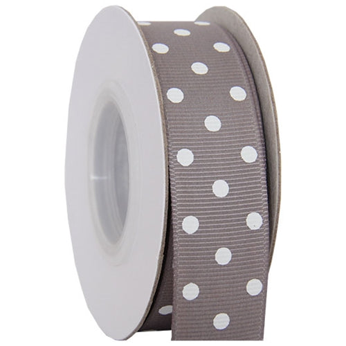 "Grosgrain Dots Ribbon 7/8"" - 10 Yards - Grey - Threadart.com"