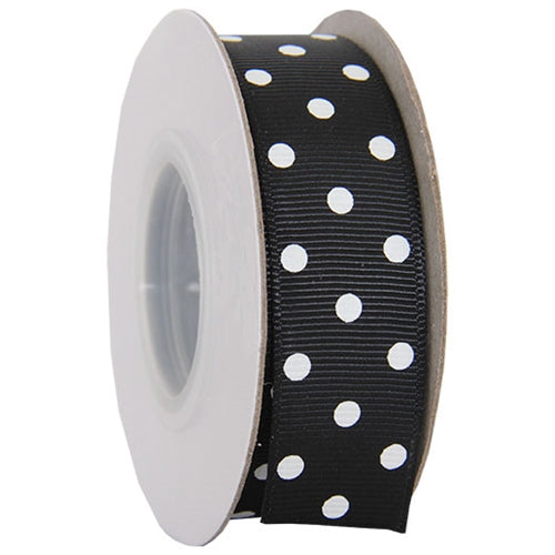 "Grosgrain Dots Ribbon 7/8"" - 10 Yards - Black - Threadart.com"