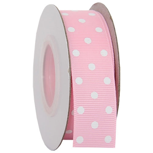 "Grosgrain Dots Ribbon 7/8"" - 10 Yards - Pink - Threadart.com"