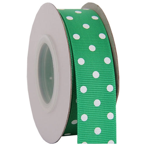 "Grosgrain Dots Ribbon 7/8"" - 10 Yards - Green - Threadart.com"