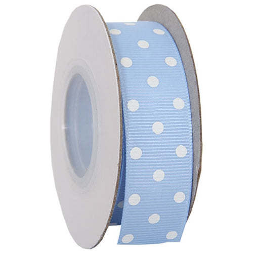 "Grosgrain Dots Ribbon 7/8"" - 10 Yards - Baby Blue - Threadart.com"