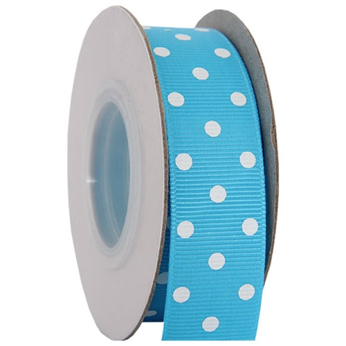 "Grosgrain Dots Ribbon 7/8"" - 10 Yards - Aqua - Threadart.com"