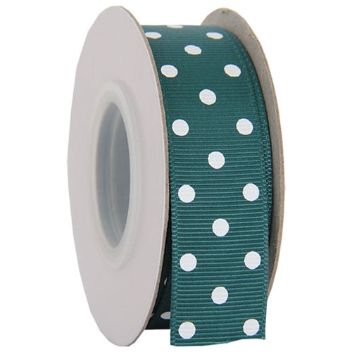 "Grosgrain Dots Ribbon 7/8"" - 10 Yards - Forest Green - Threadart.com"